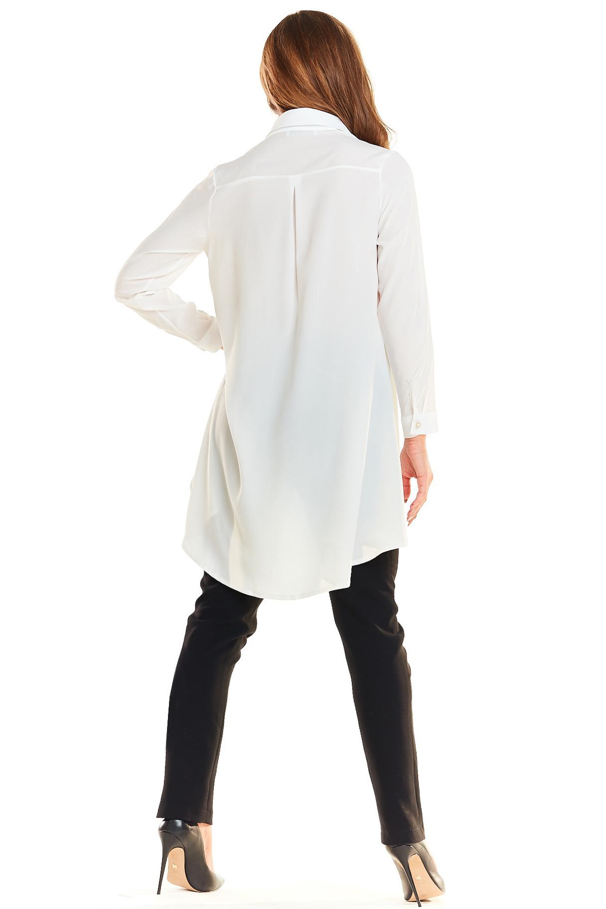 CM3982 Długa asymetryczna koszula - ecru