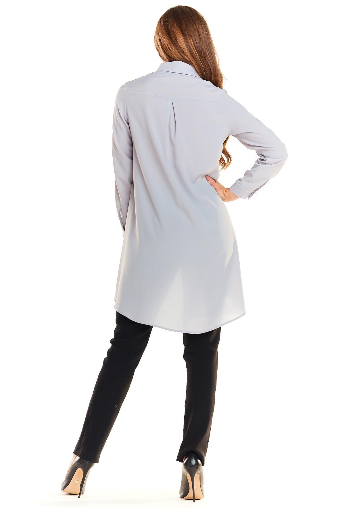 CM3982 Długa asymetryczna koszula - szara