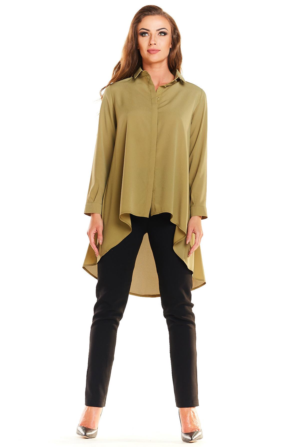 CM3982 Długa asymetryczna koszula - oliwkowa