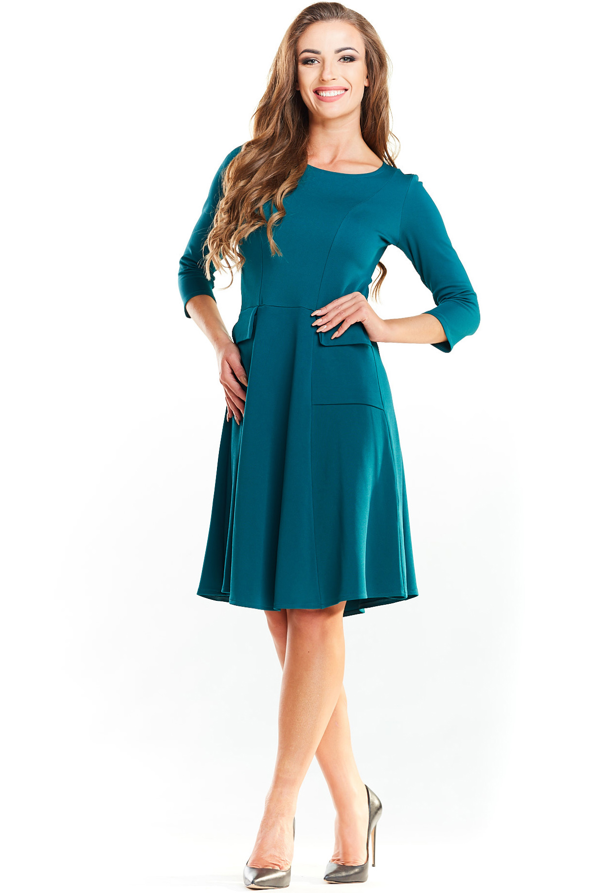 d44d38d327 CM3985 Biurowa sukienka z imitacją kieszeni - zielona ...