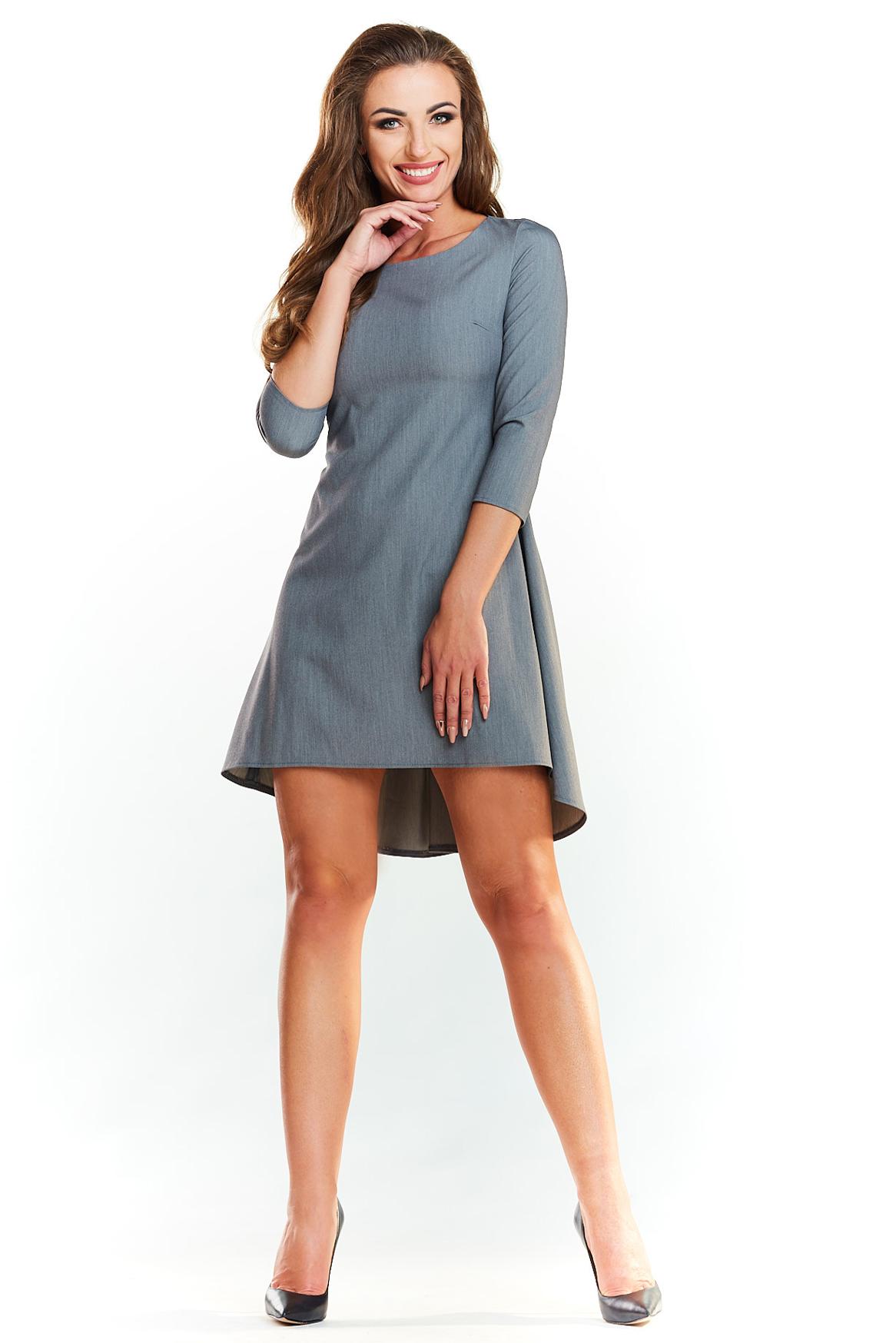addb5b3942 CM3988 Asymetryczna sukienka z rękawem 1 2 - szara ...