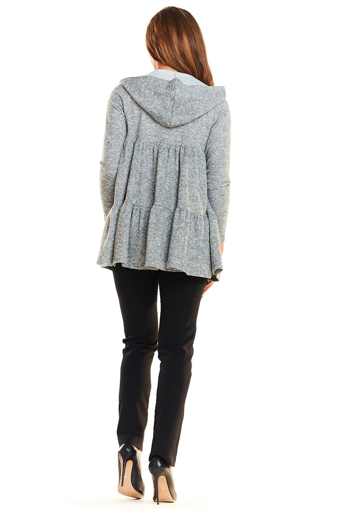 CM4023 Sweter - narzutka z kapturem - szary