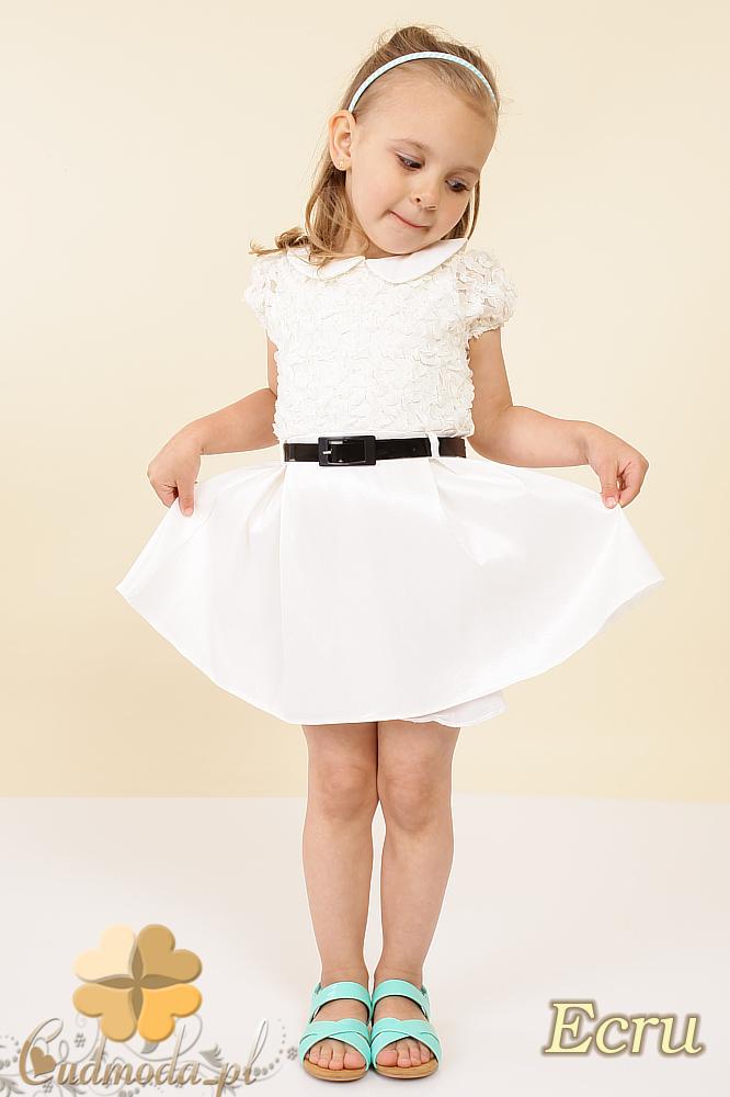 MA011  Dziecięca sukienka satynowa z kołnierzykiem -ecru