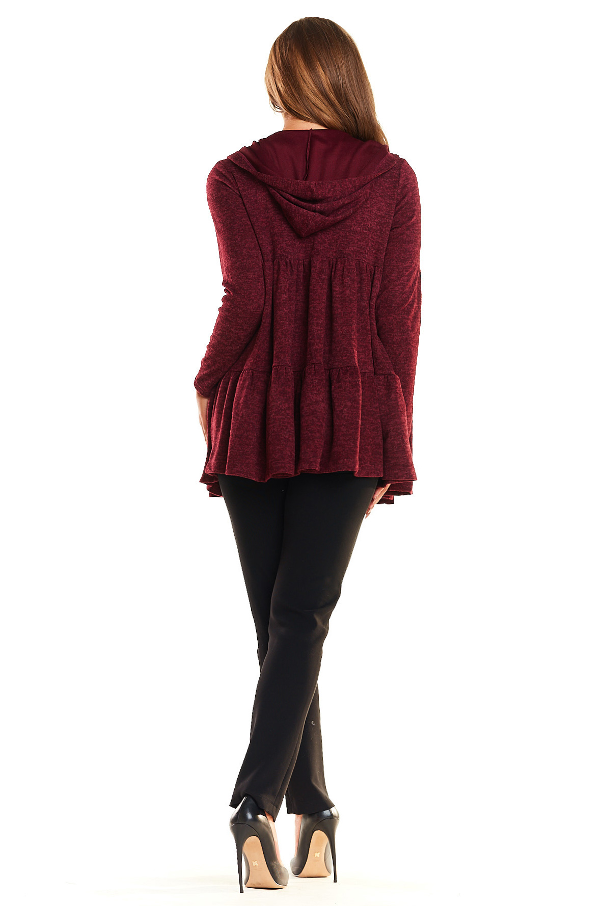 CM4023 Sweter - narzutka z kapturem - bordowy