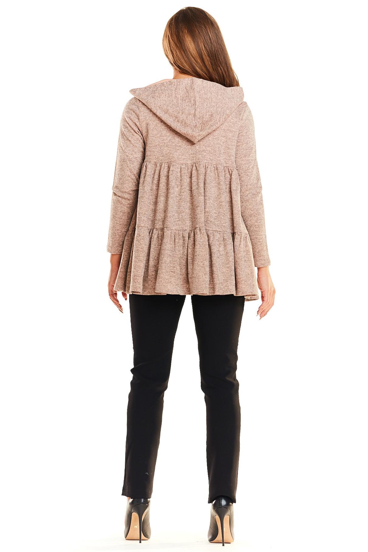 CM4023 Sweter - narzutka z kapturem - różowy