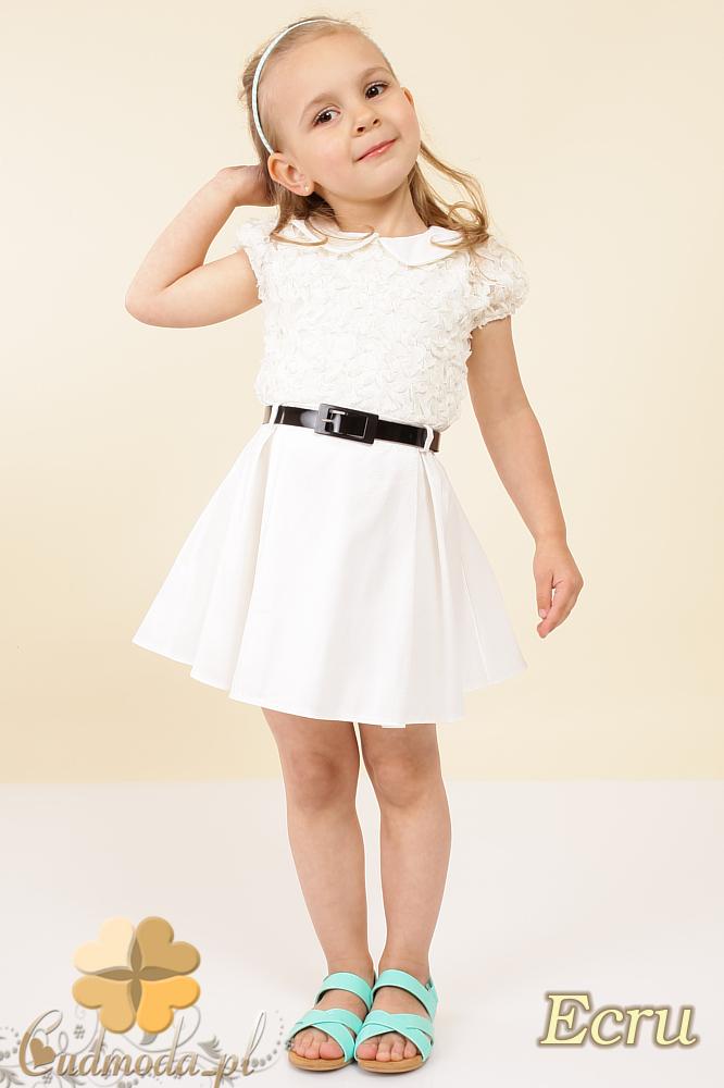 MA011  Dziecięca sukienka satynowa z kołnierzykiem - ecru OUTLET