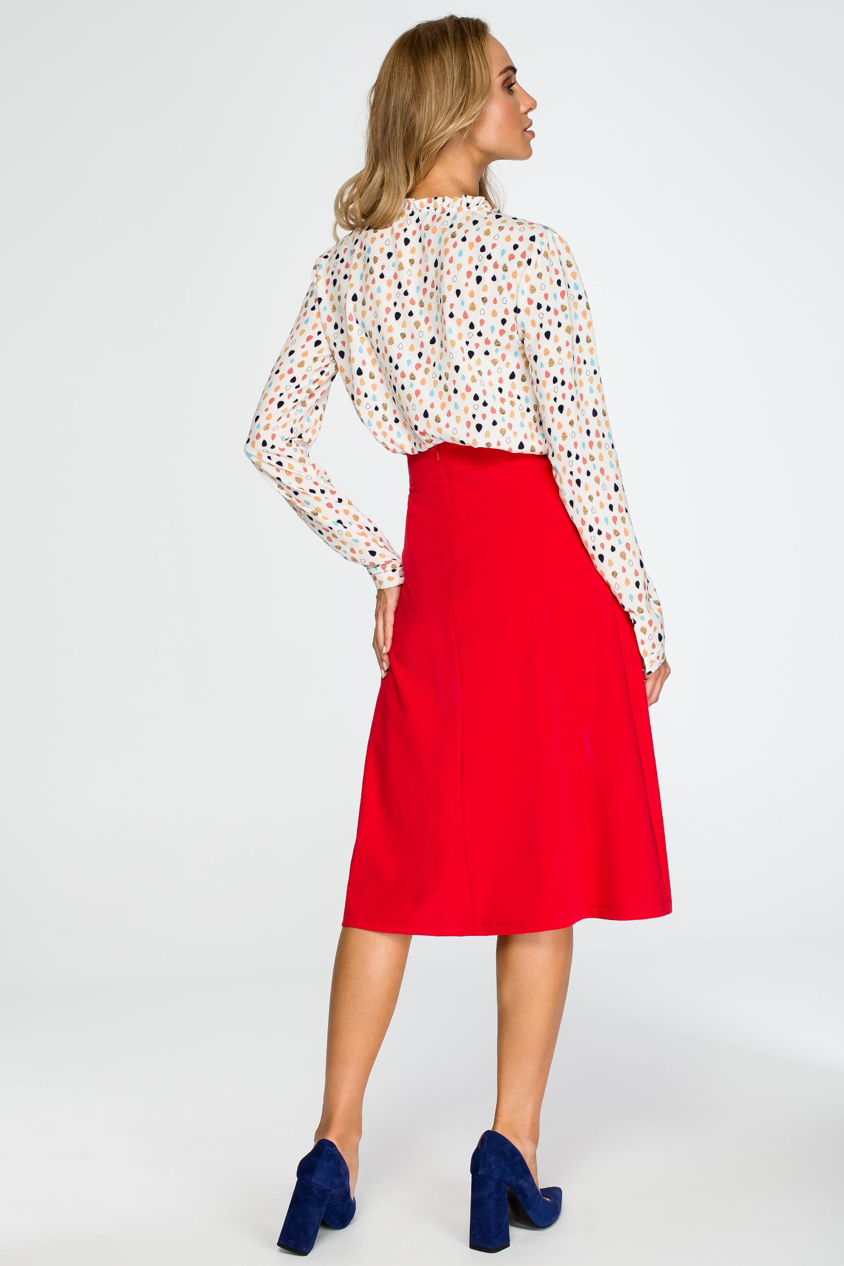 CM4030 Rozkloszowana spódnica midi - czerwona