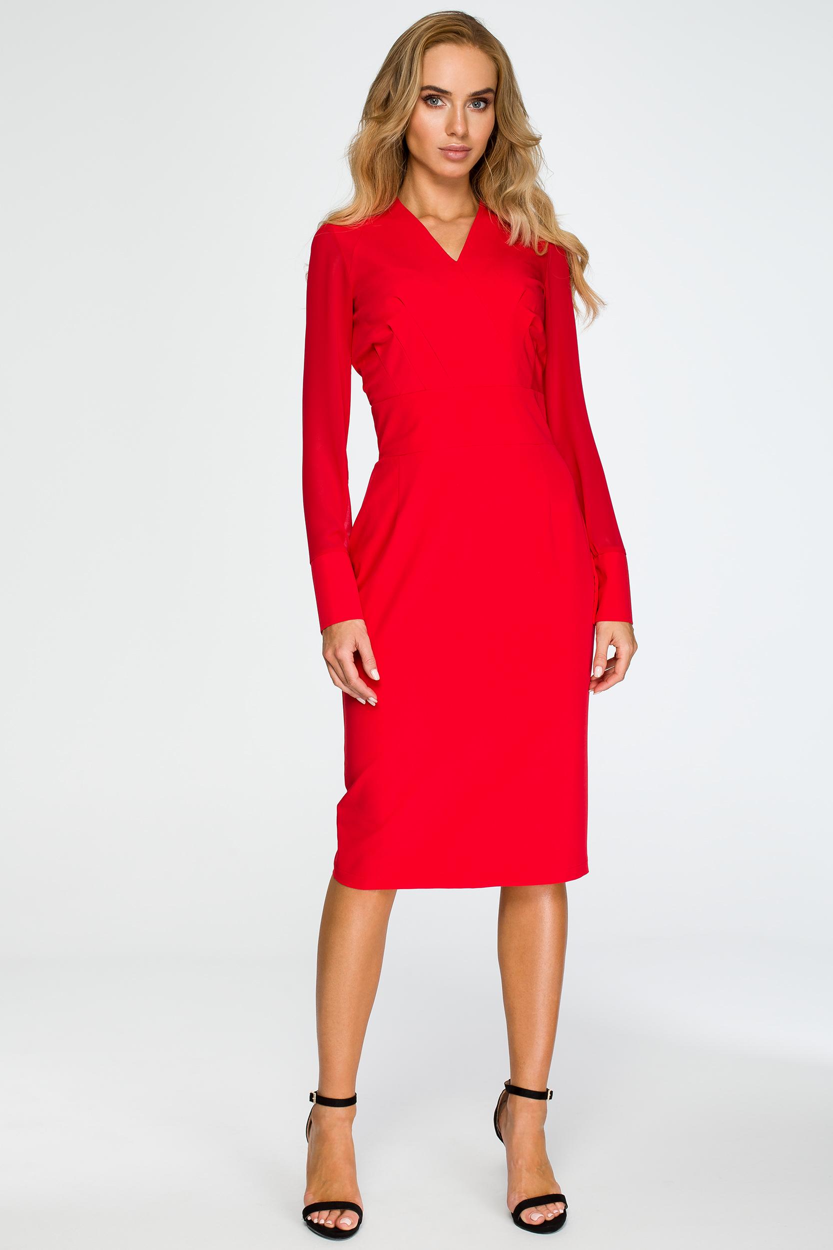 CM4033 Ołówkowa sukienka z szyfonowymi rękawami - czerwona