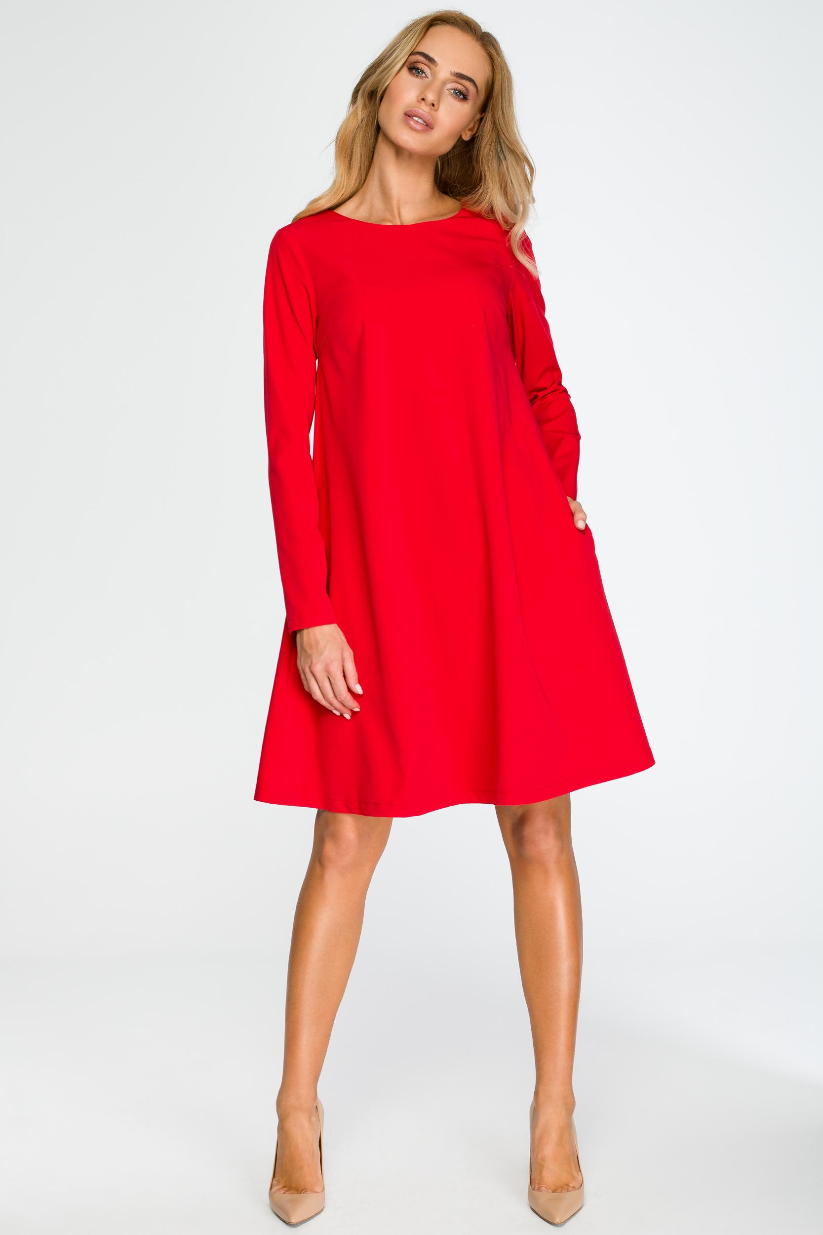 CM4034 Rozkloszowana sukienka mini z długim rękawem - czerwona