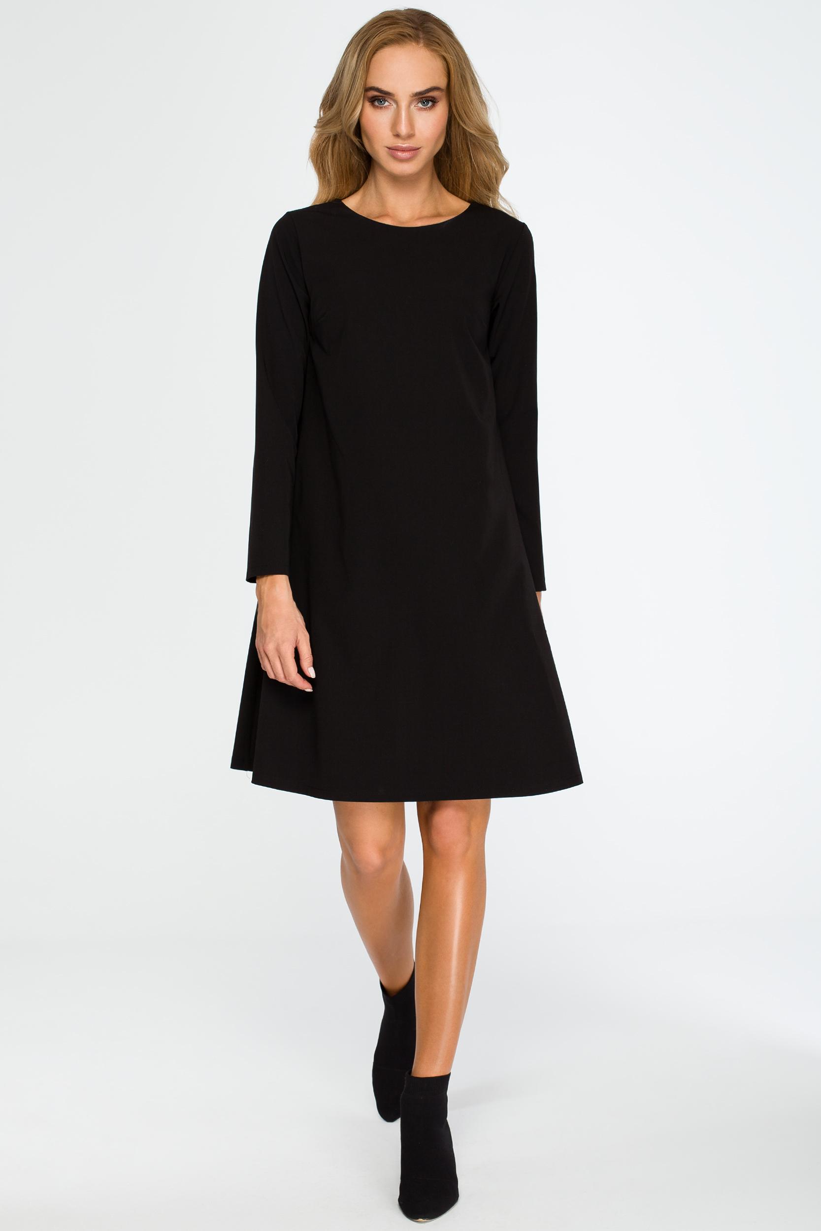 9b88b6eea8 CM4034 Rozkloszowana sukienka mini z długim rękawem - czarna ...