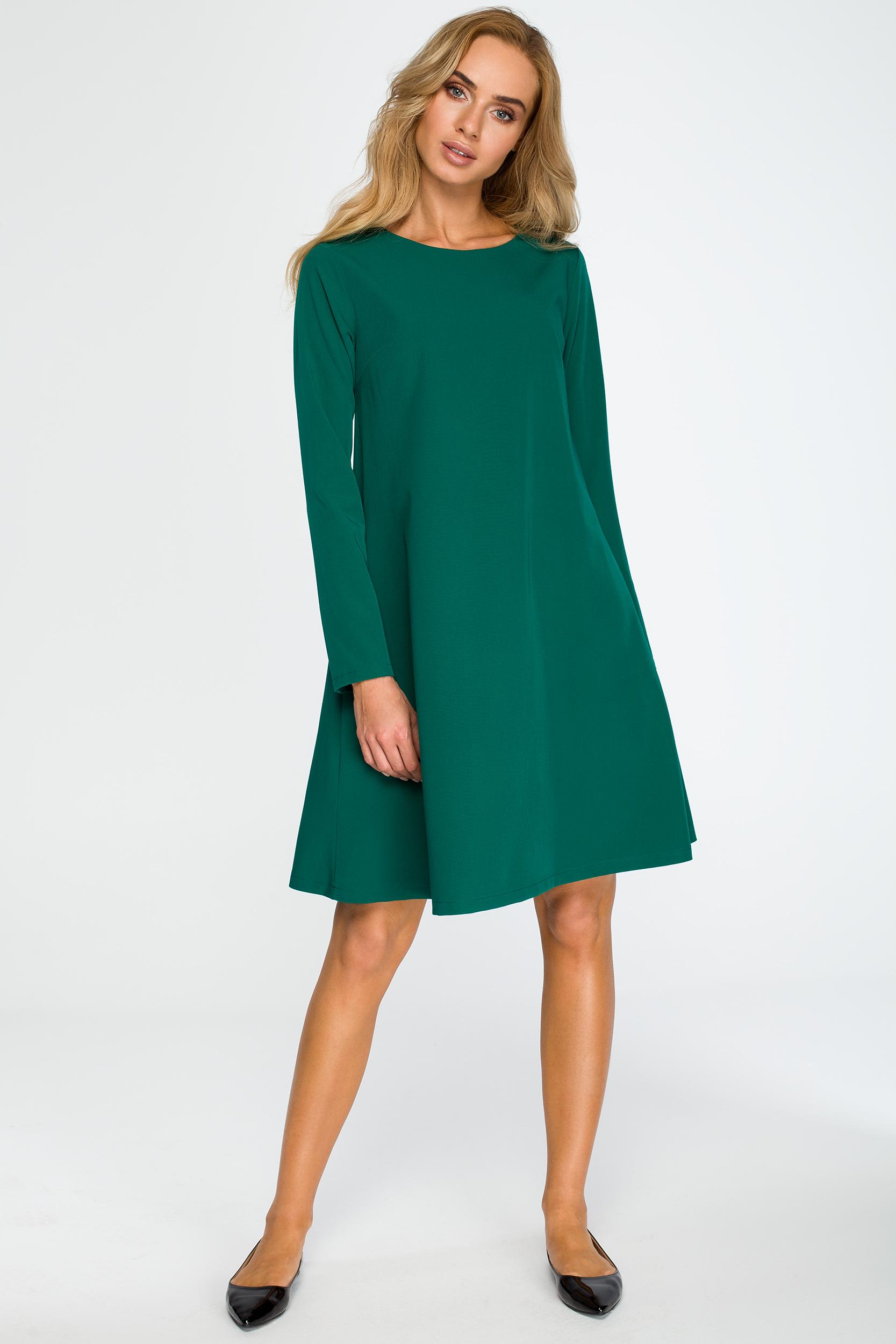 0ae6d7c5dc CM4034 Rozkloszowana sukienka mini z długim rękawem - zielona ...