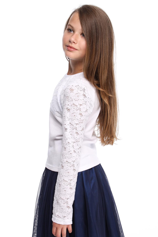 MA112 Bluzeczka dziewczęca z koronkowym rękawem