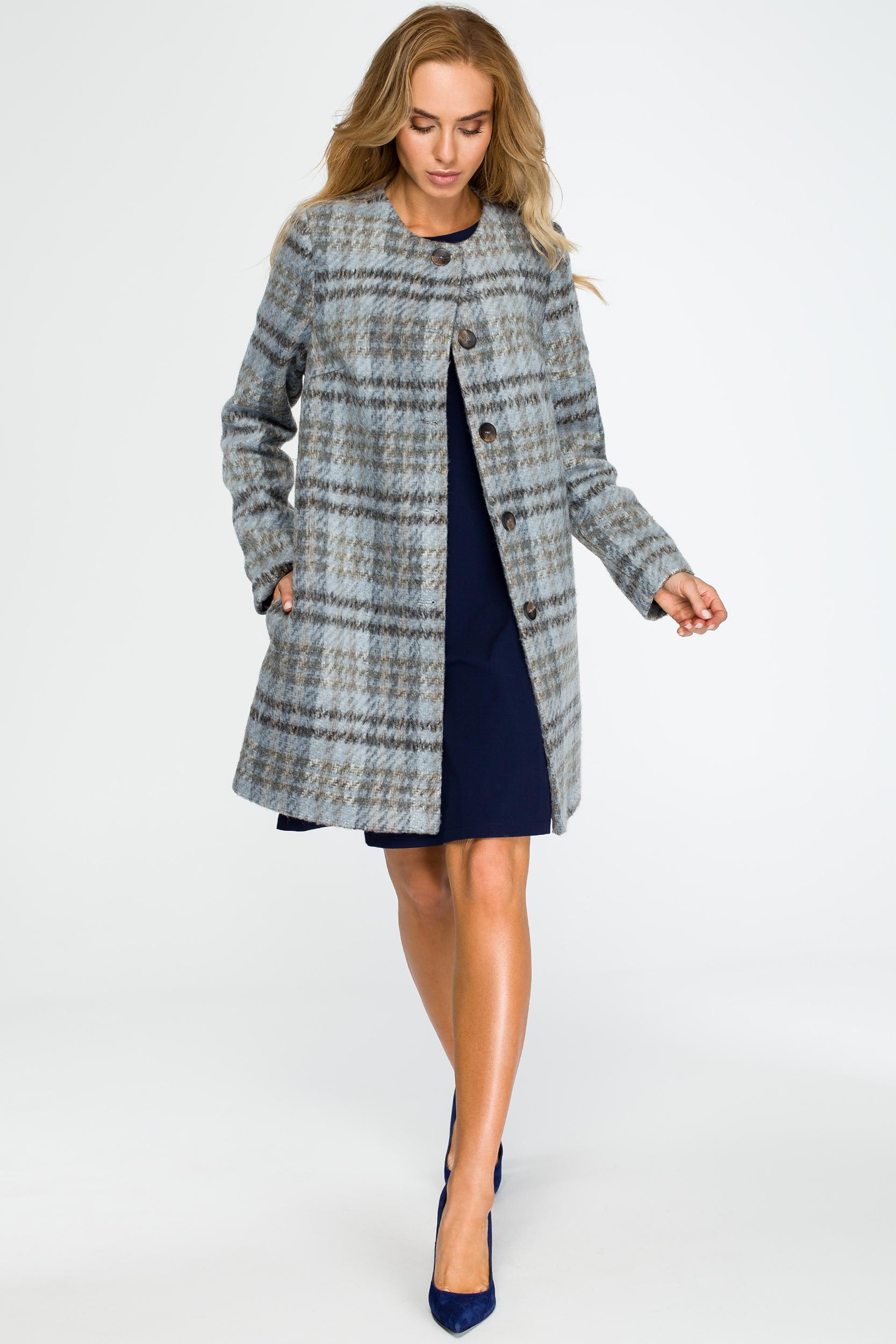 CM4035 Elegancki płaszcz zapinany na guziki - niebieski