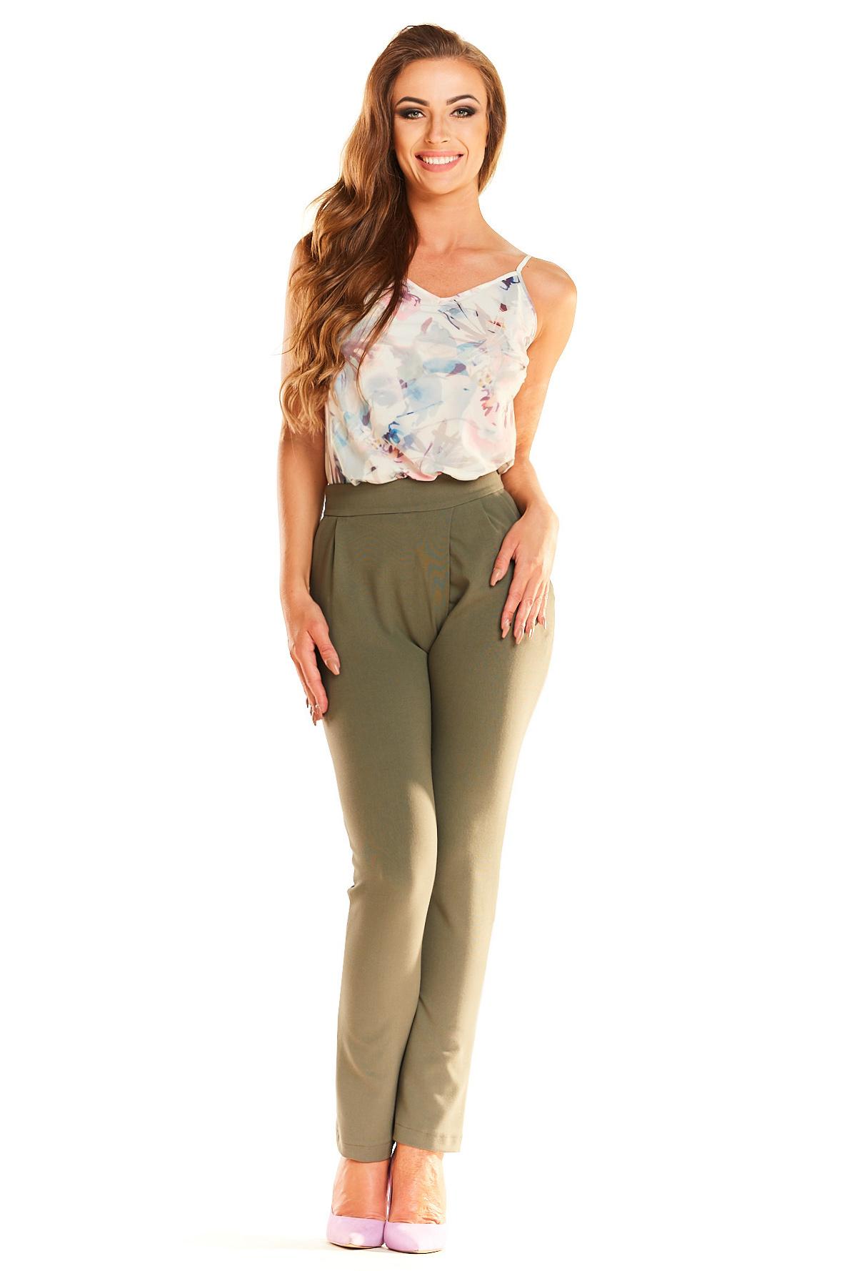 CM4025 Eleganckie klasyczne spodnie - khaki