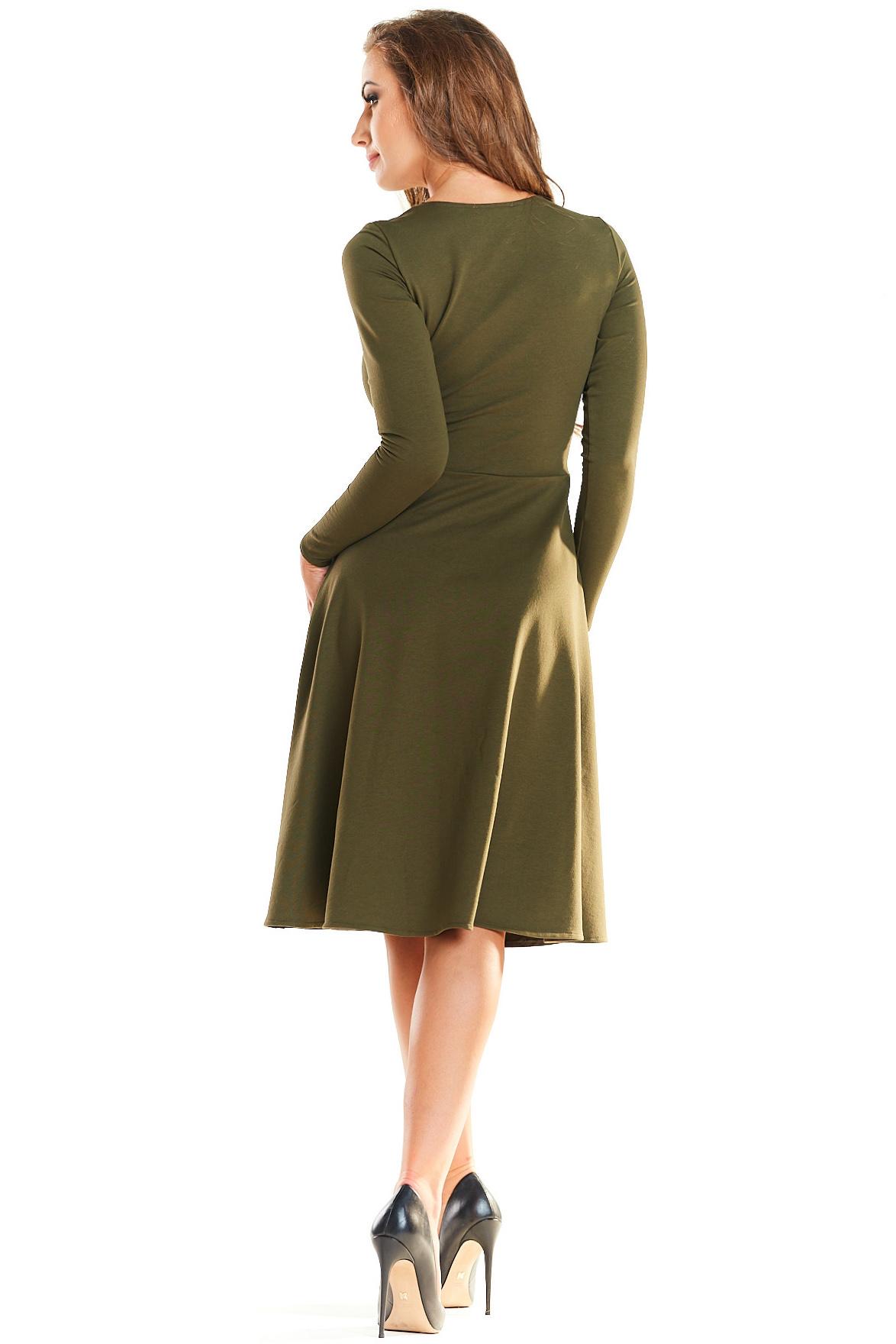 CM4026 Odcinana sukienka kontrafałda - khaki