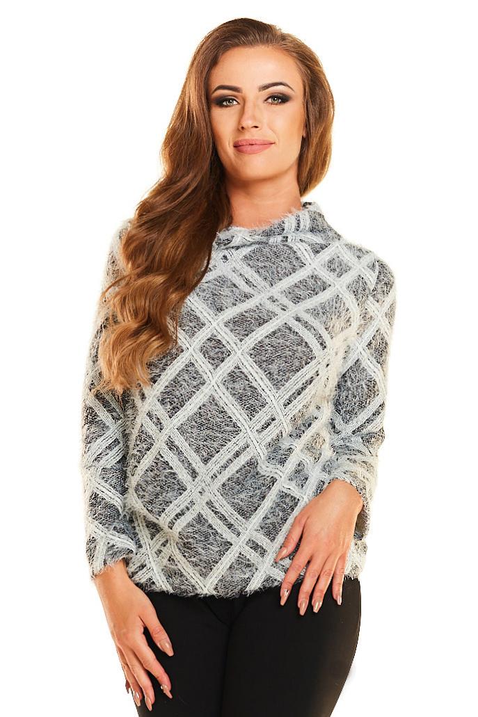 CM4028 Dzianinowy ciepły sweter - romby