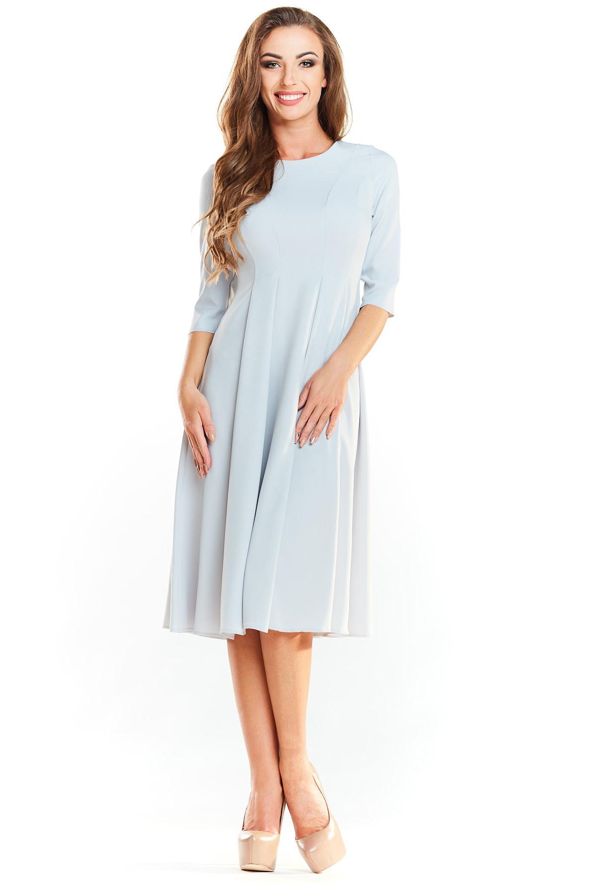 CM4040 Rozkloszowana sukienka midi z rękawem 1/2 - szara