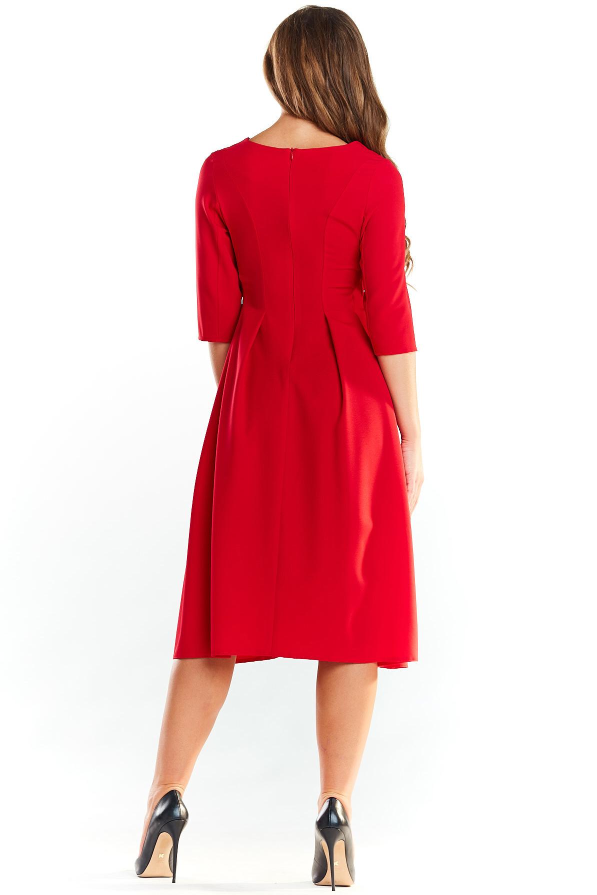 CM4040 Rozkloszowana sukienka midi z rękawem 1/2 - czerwona