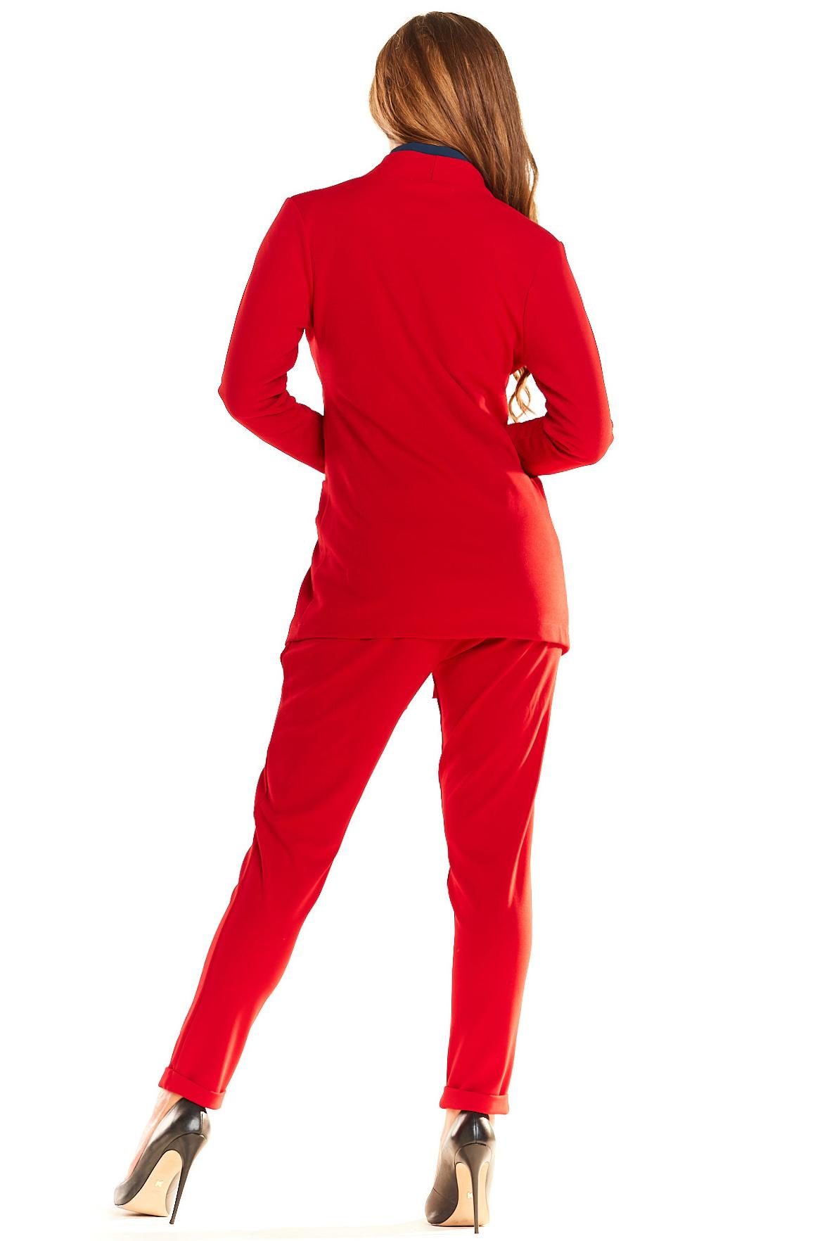 CM4043 Stylowy żakiet midi - czerwony