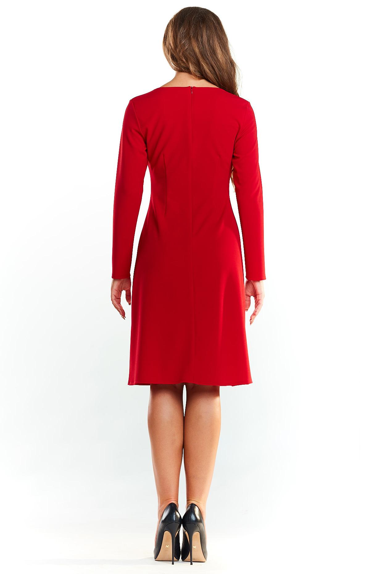 CM4045 Biurowa sukienka trapezowa - czerwona