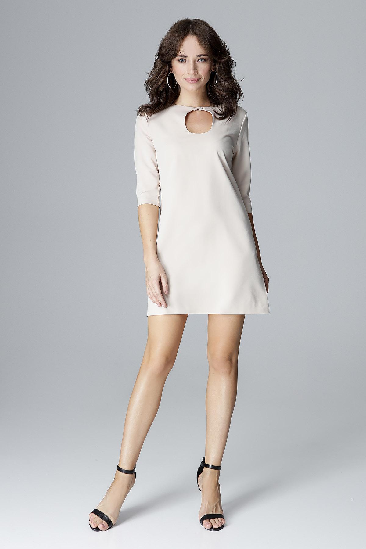 CM4050 Trapezowa sukienka mini - beżowa