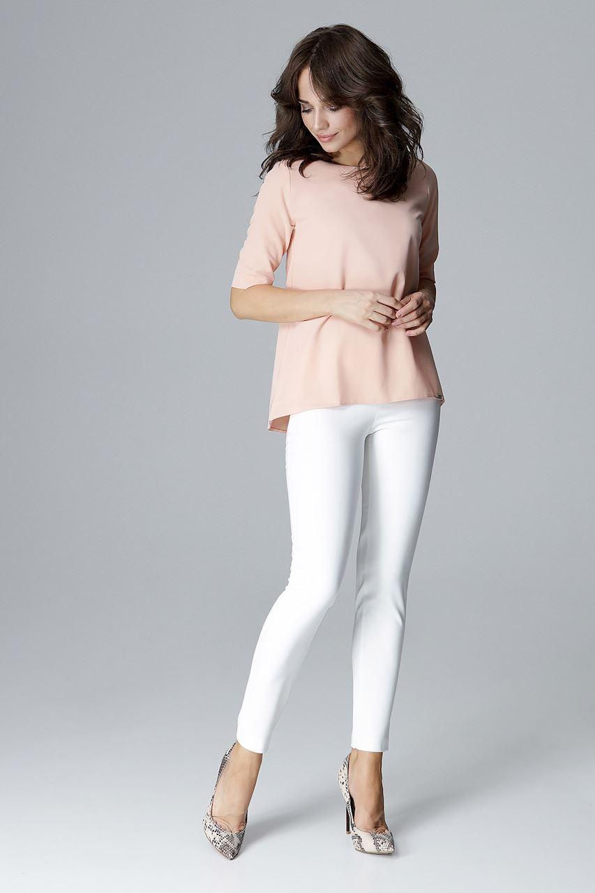 CM4051 Prosta bluzka z krótkim rękawem - różowa