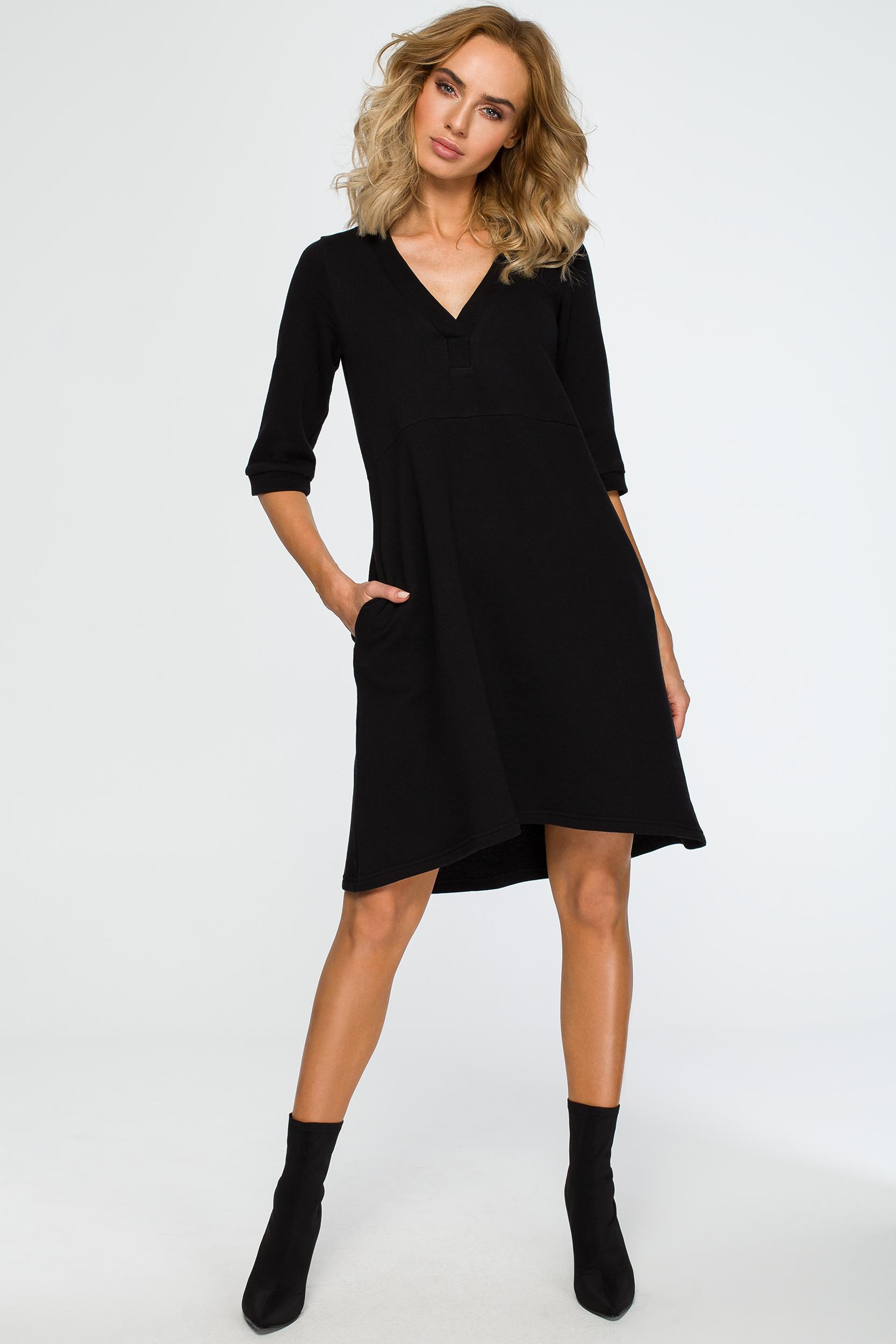CM4013 Sukienka z głębokim dekoltem - czarna