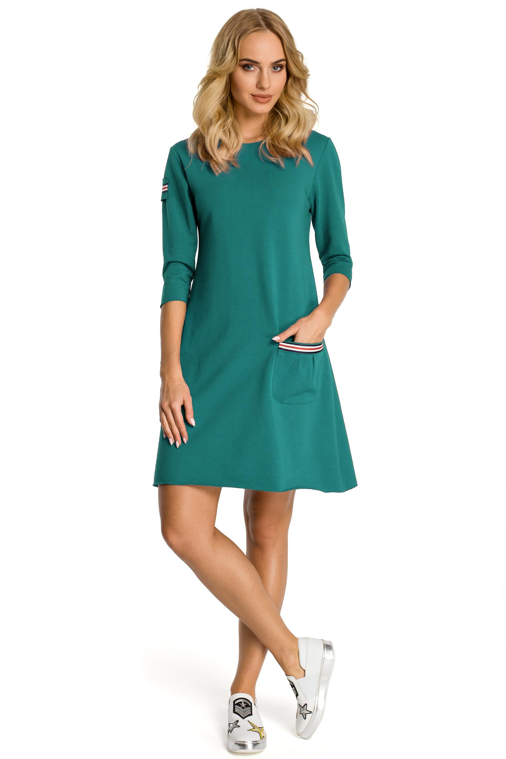 CM3308 Trapezowa sukienka z kieszenią - zielona
