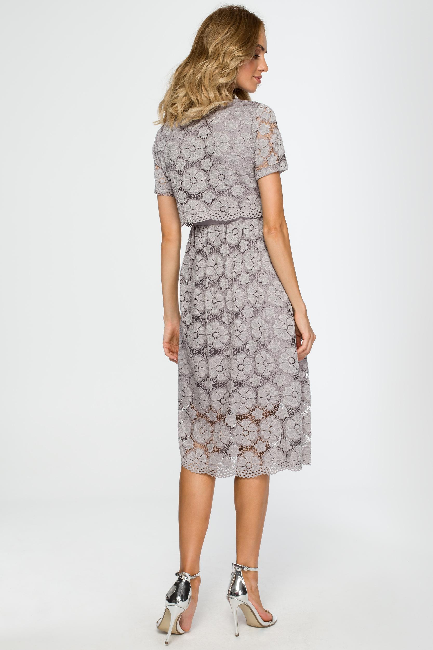 CM4015 Koronkowa sukienka midi - szara