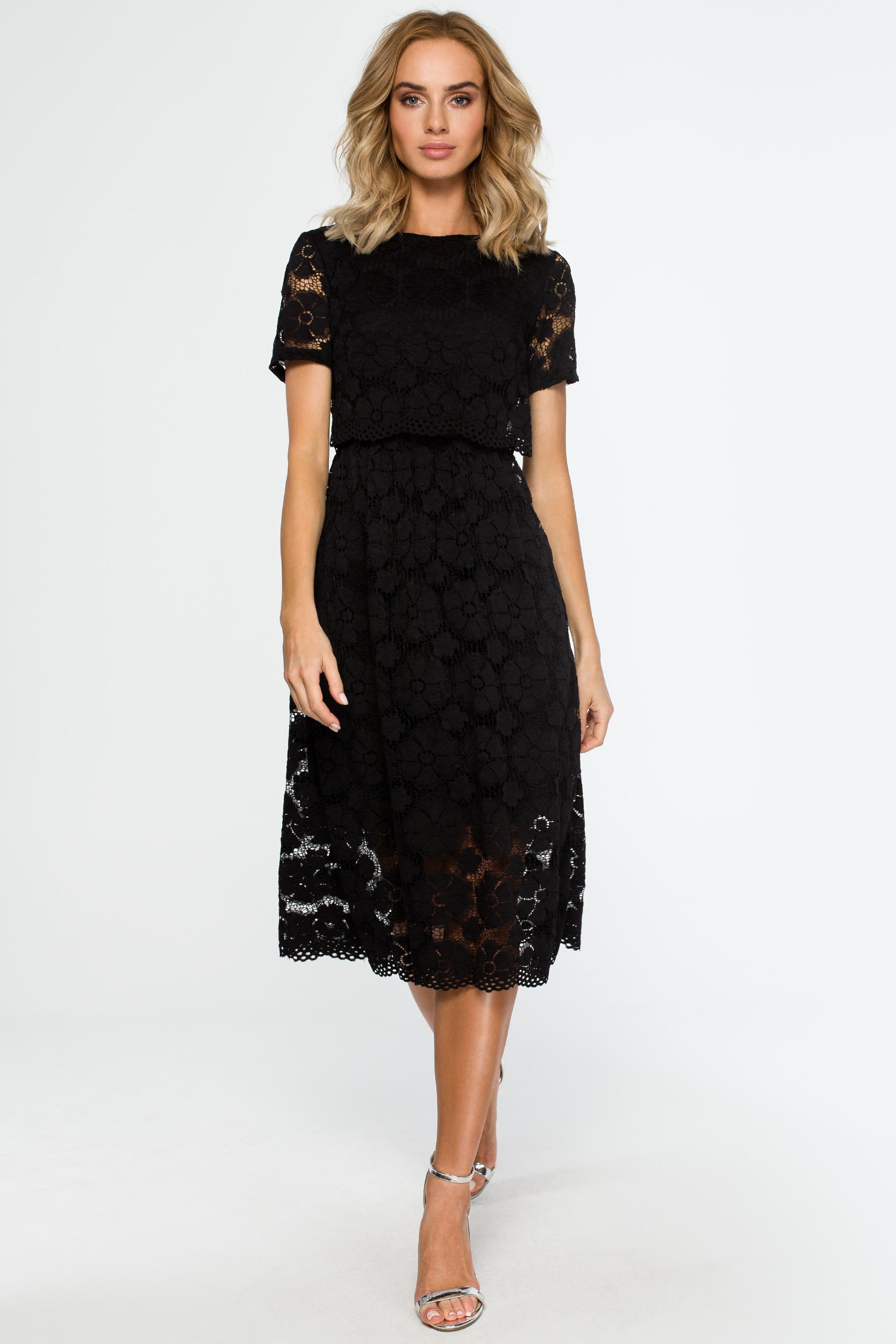 2358214363 CM4015 Koronkowa sukienka midi - czarna ...