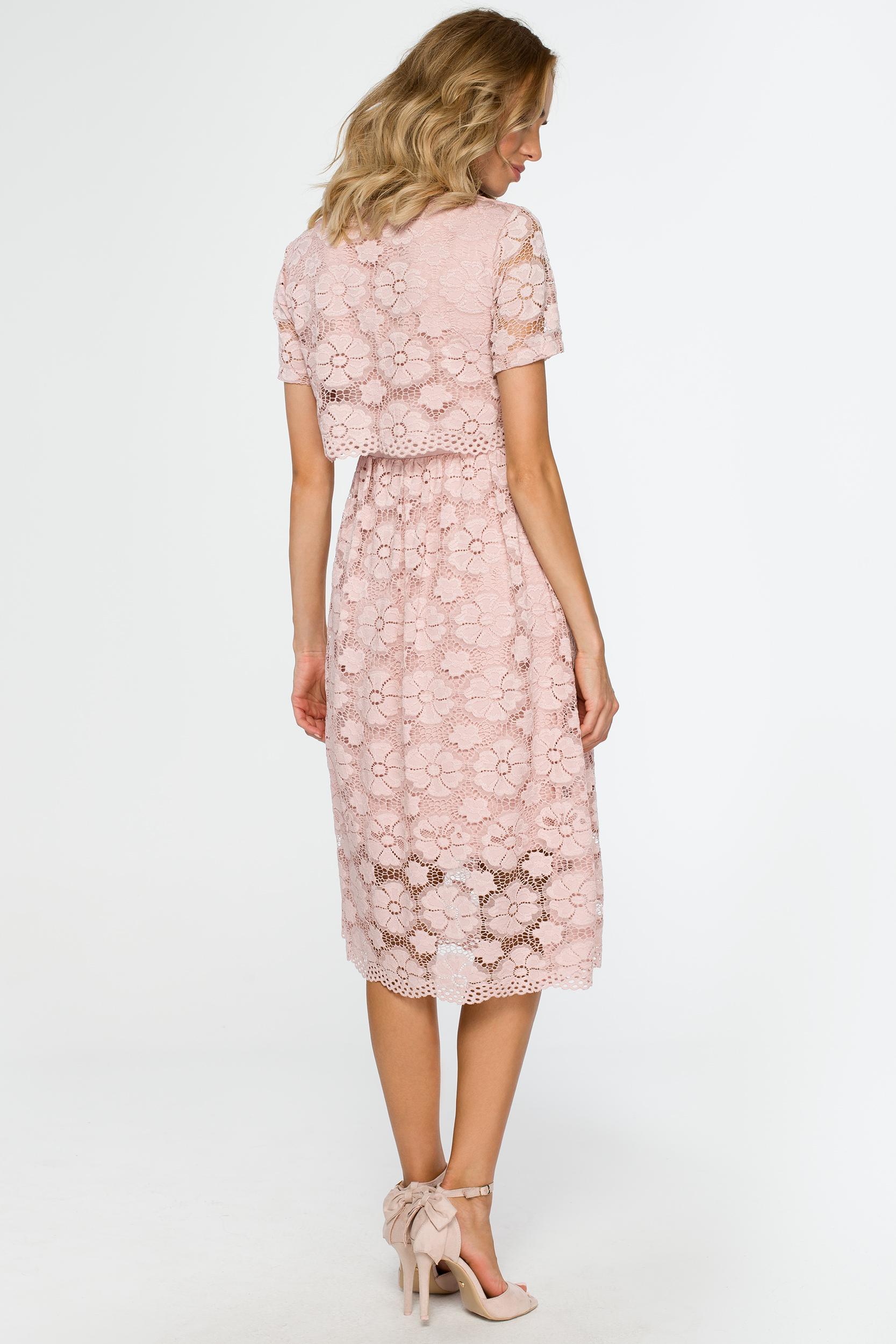 CM4015 Koronkowa sukienka midi - różowa