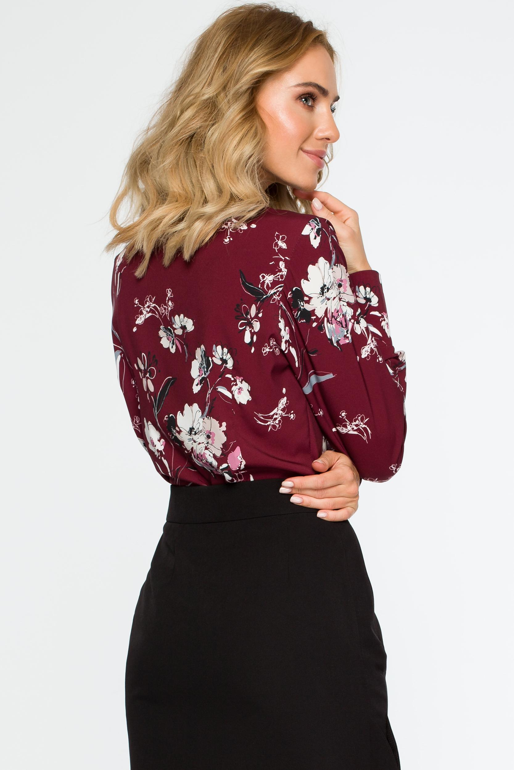 CM4018 Bluzka koszulowa w kwiaty - bordowa
