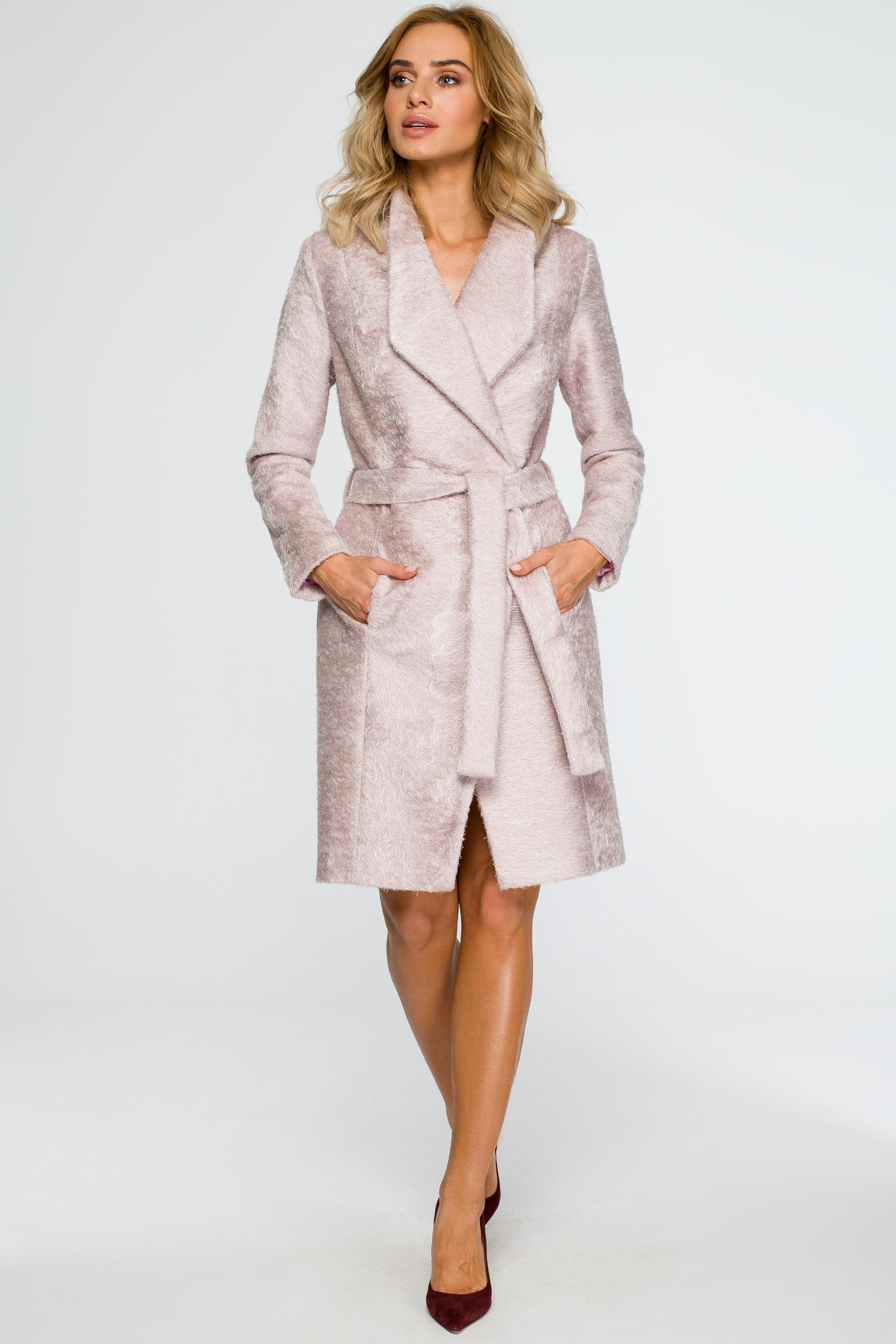 CM4020 Stylowy płaszcz z paskiem - pudrowy