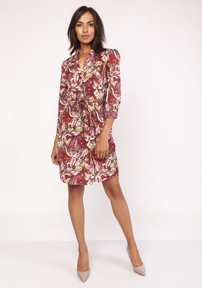 CM3876 Sukienka midi z delikatną stójką - wzór
