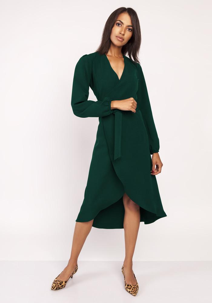 CM3880 Asymetryczna kopertowa sukienka - zielona