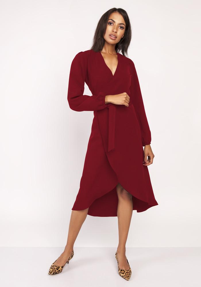 CM3880 Asymetryczna kopertowa sukienka - bordowa