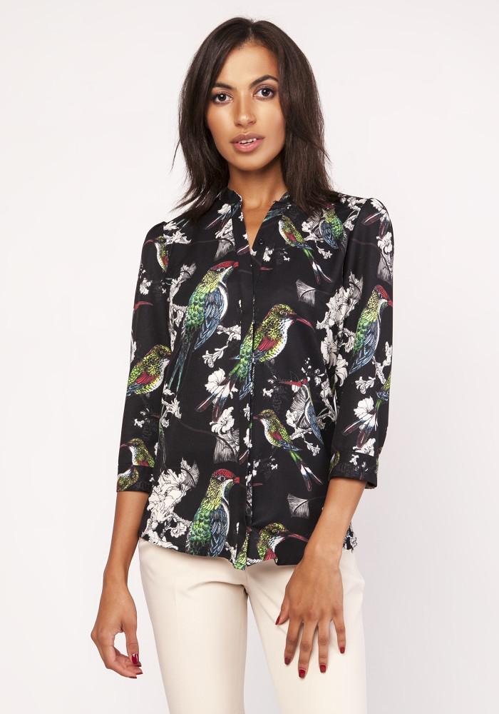 CM4066 Luźna koszula damska we wzory - ptaki