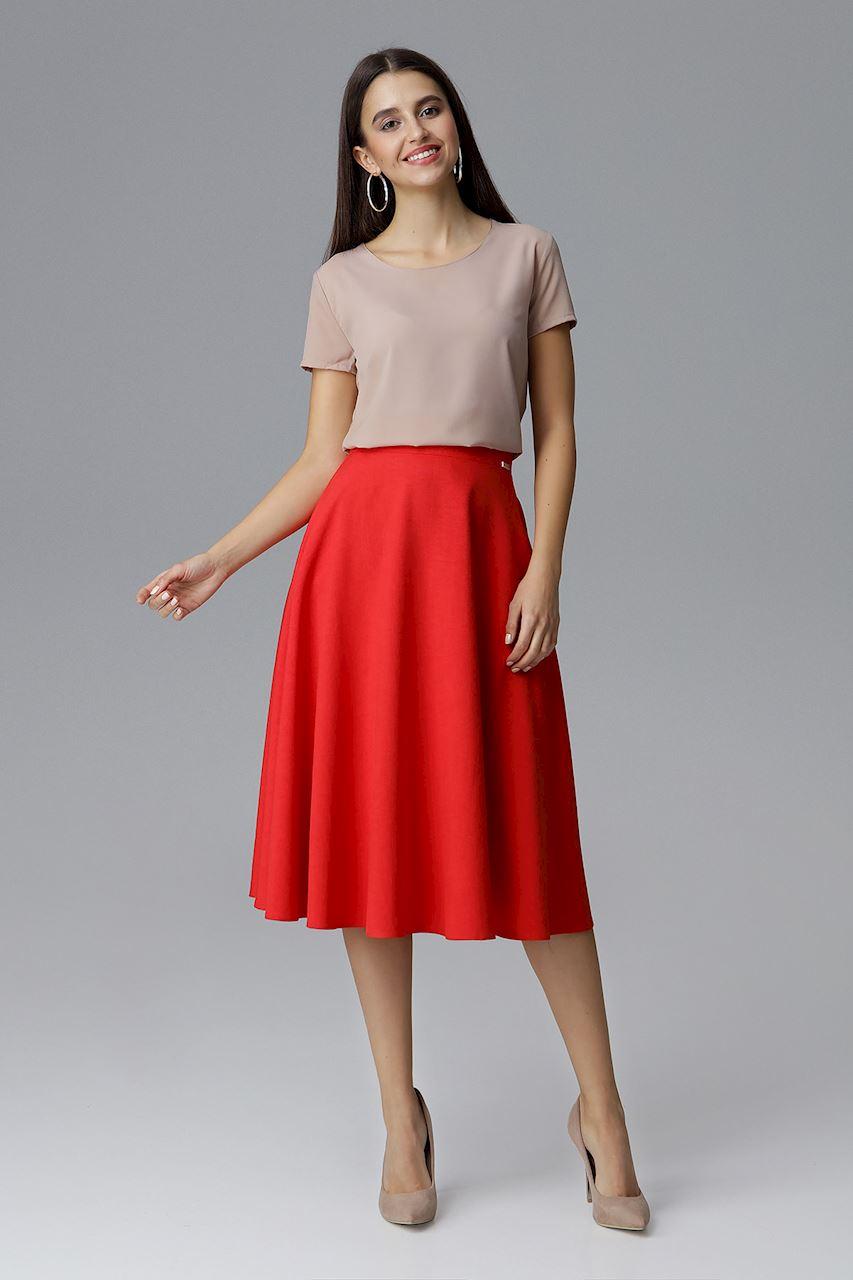 CM4074 Rozkloszowana spódnica na pasku - czerwona