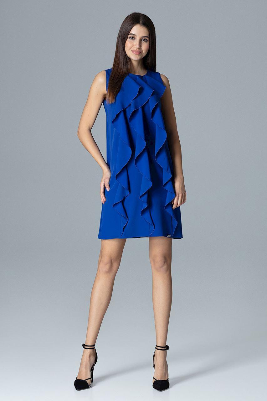 CM4082 Trapezowa sukienka bez rękawów z falbanami - szafirowa