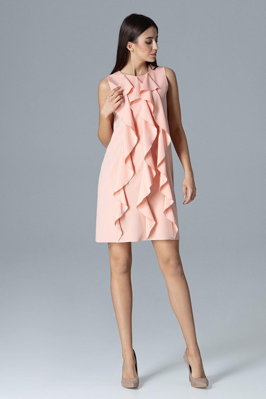 CM4082 Trapezowa sukienka bez rękawów z falbanami - różowa