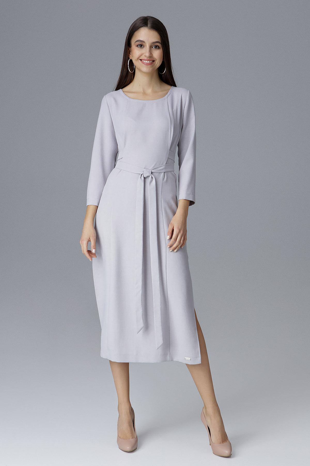 CM4085 Sukienka za kolano z rękawem 3/4 - szara