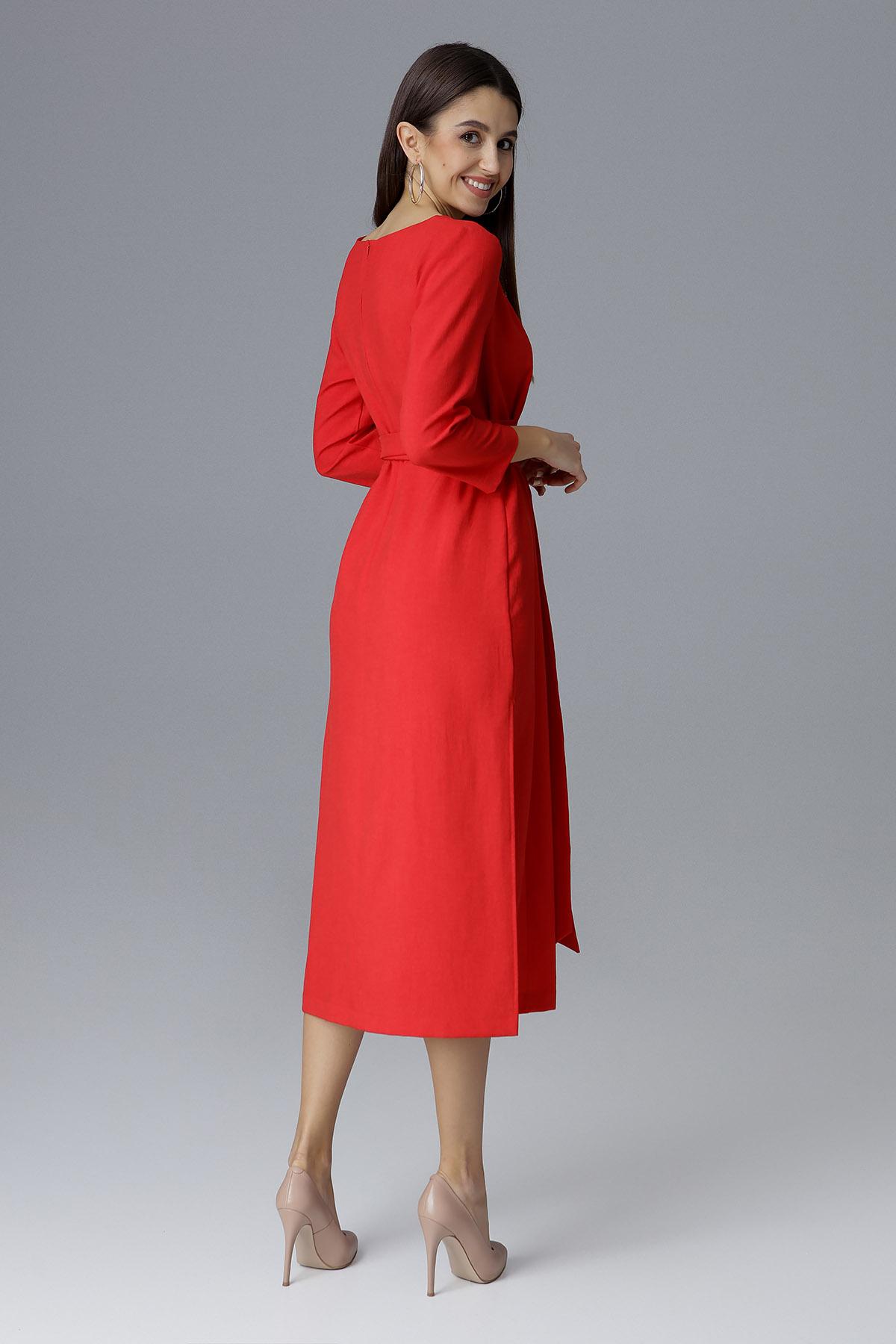 CM4085 Sukienka za kolano z rękawem 3/4 - czerwona
