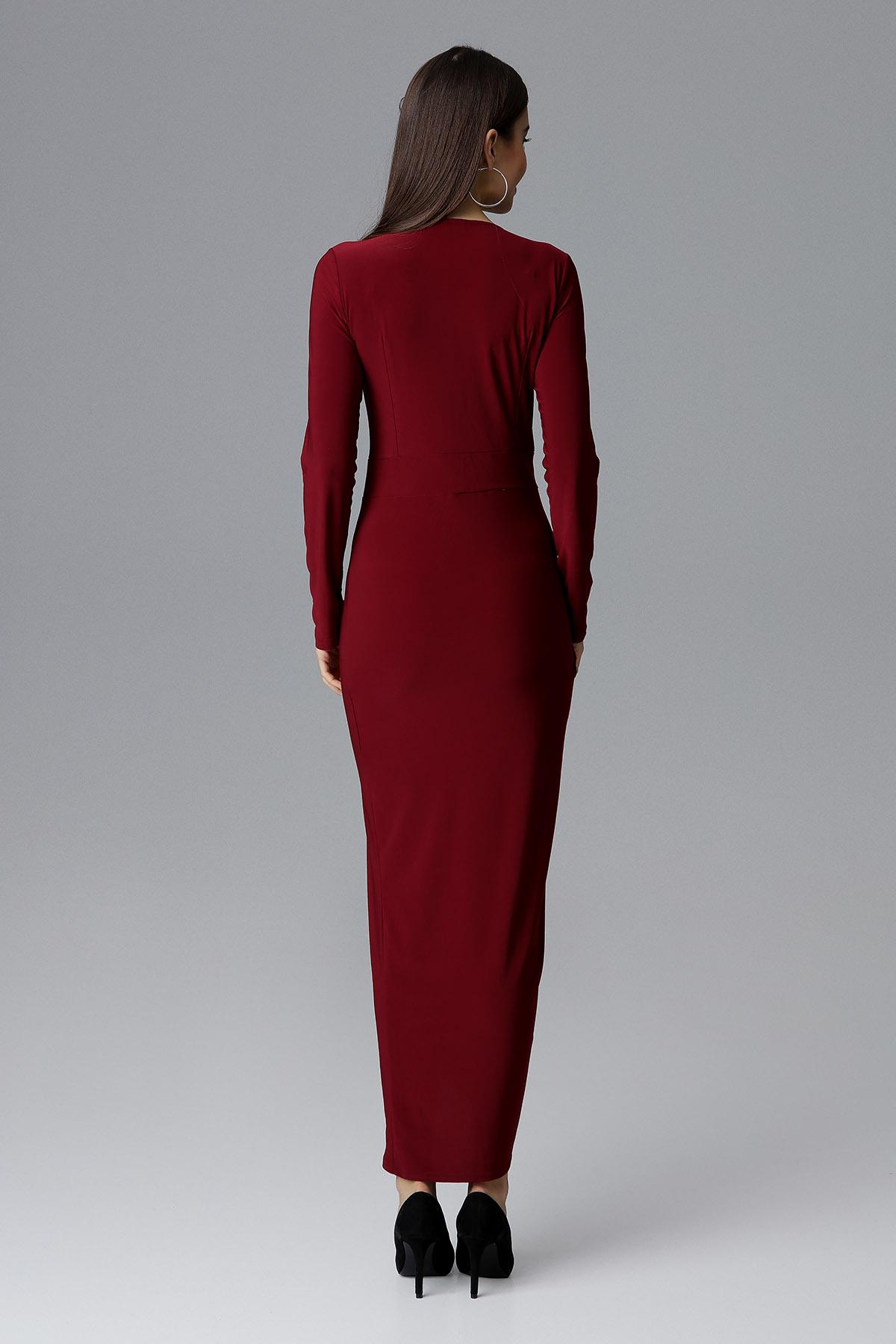 CM4086 Sukienka maxi z rozcięciem - bordowa