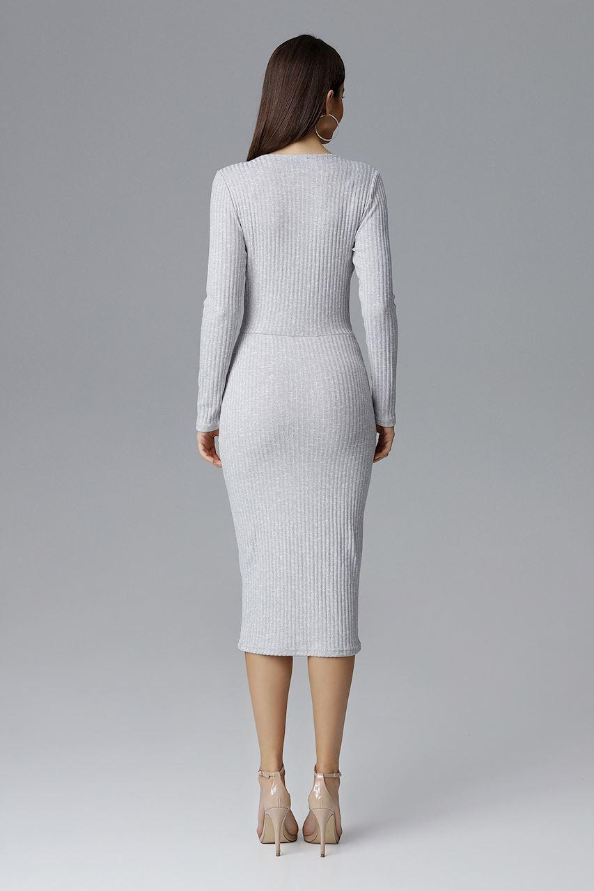 CM4087 Dopasowana sukienka z dekoltem w serek - szara