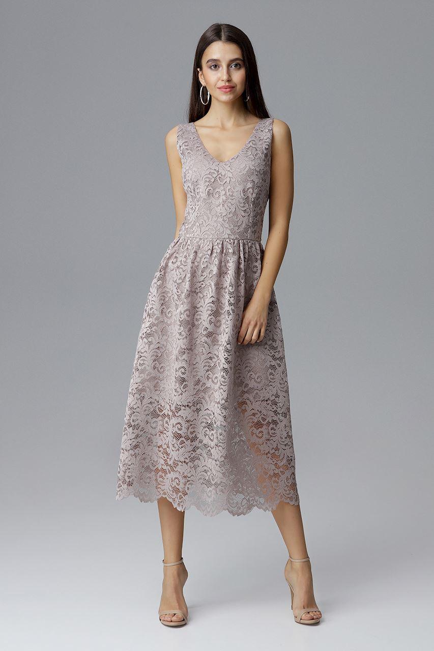 CM4088 Koronkowa sukienka maxi bez rękawów - beżowa