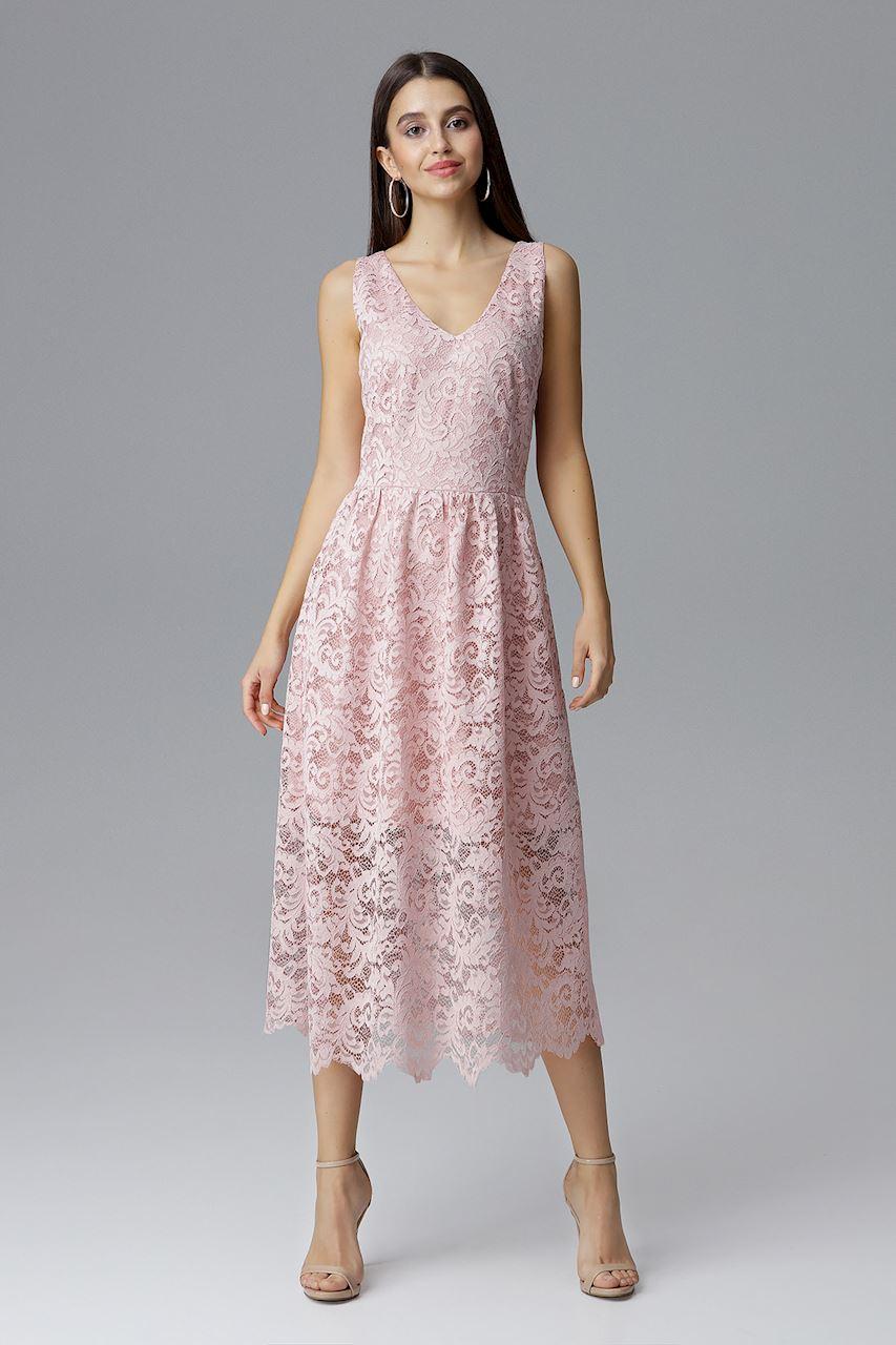 CM4088 Koronkowa sukienka maxi bez rękawów - różowa