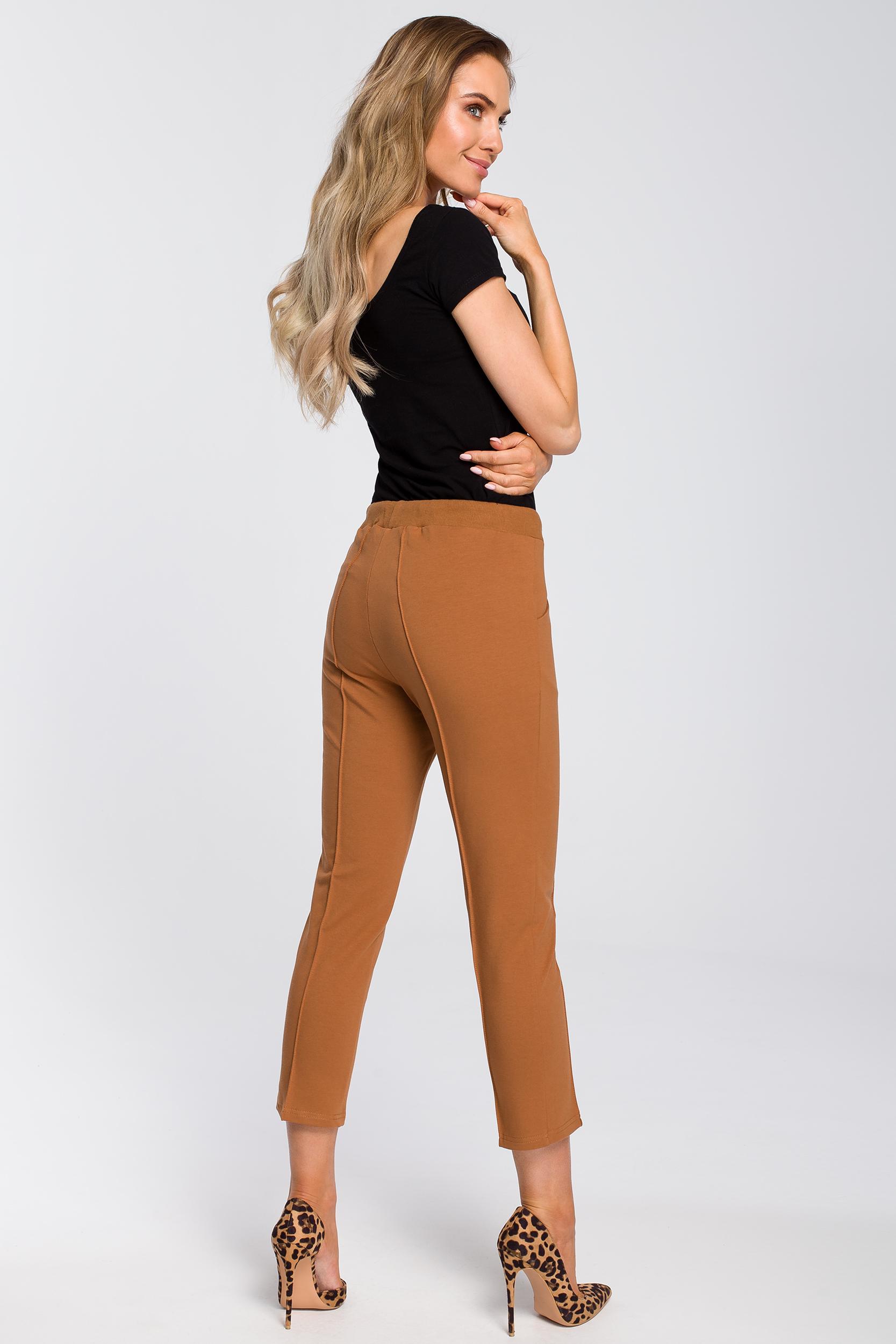 CM4092 Spodnie cygaretki długości 7/8 - karmelowe