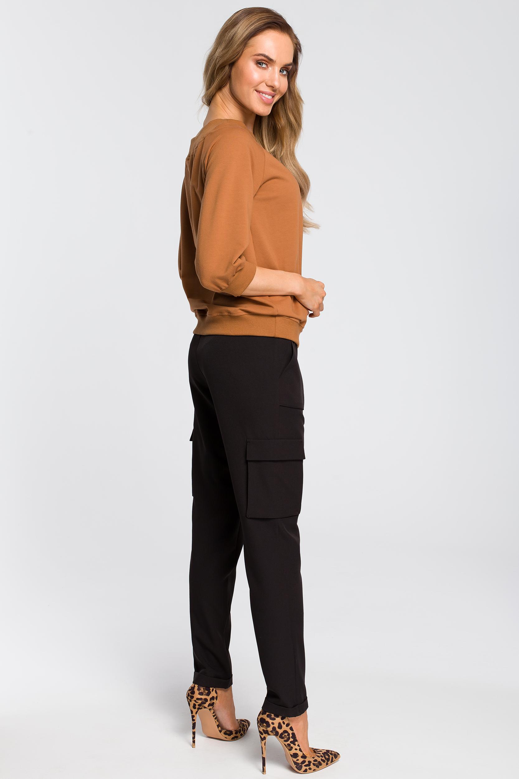CM4093 Bluzka z opadającym ramieniem - karmelowa