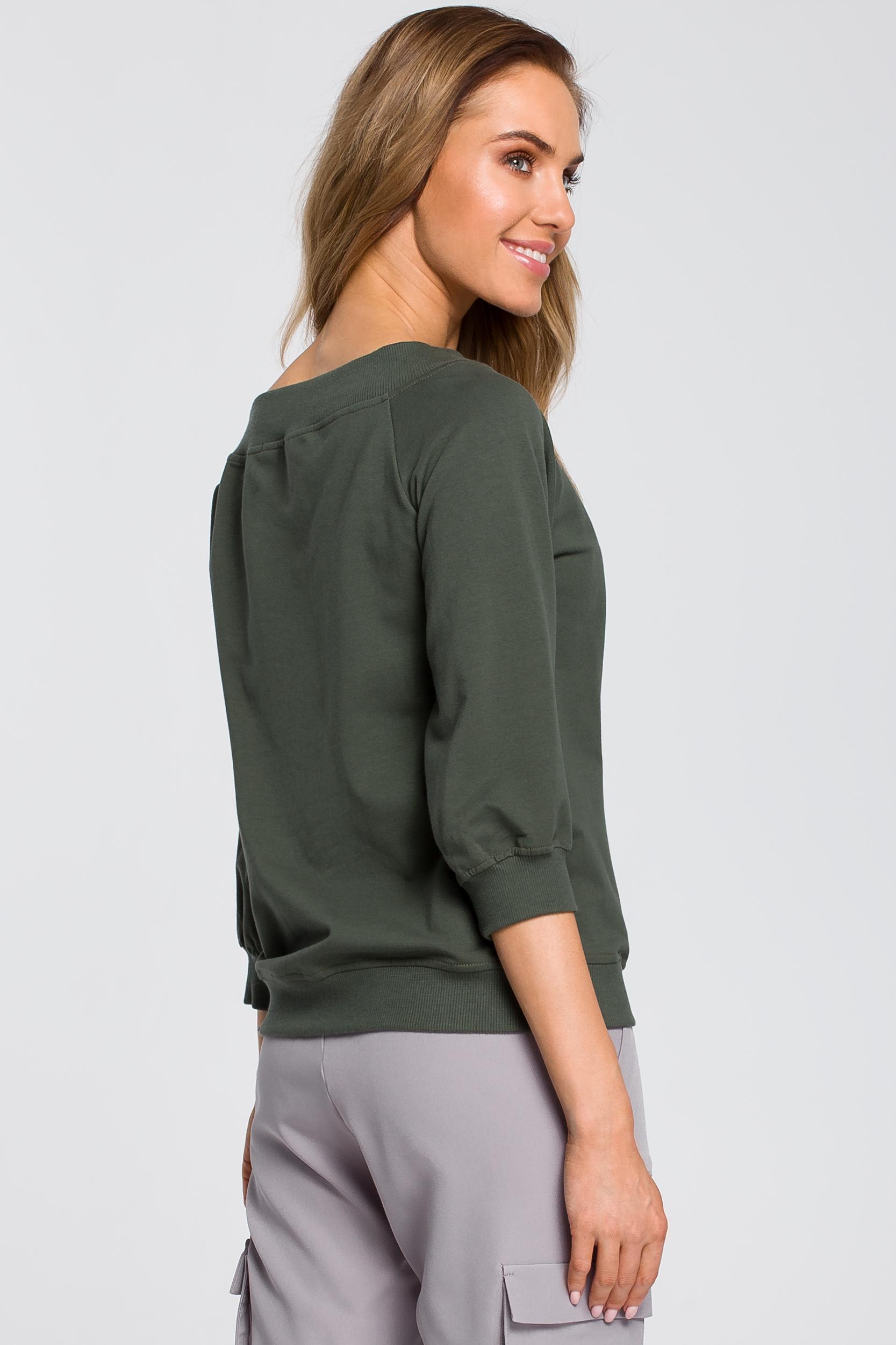 CM4093 Bluzka z opadającym ramieniem - militarno-zielona