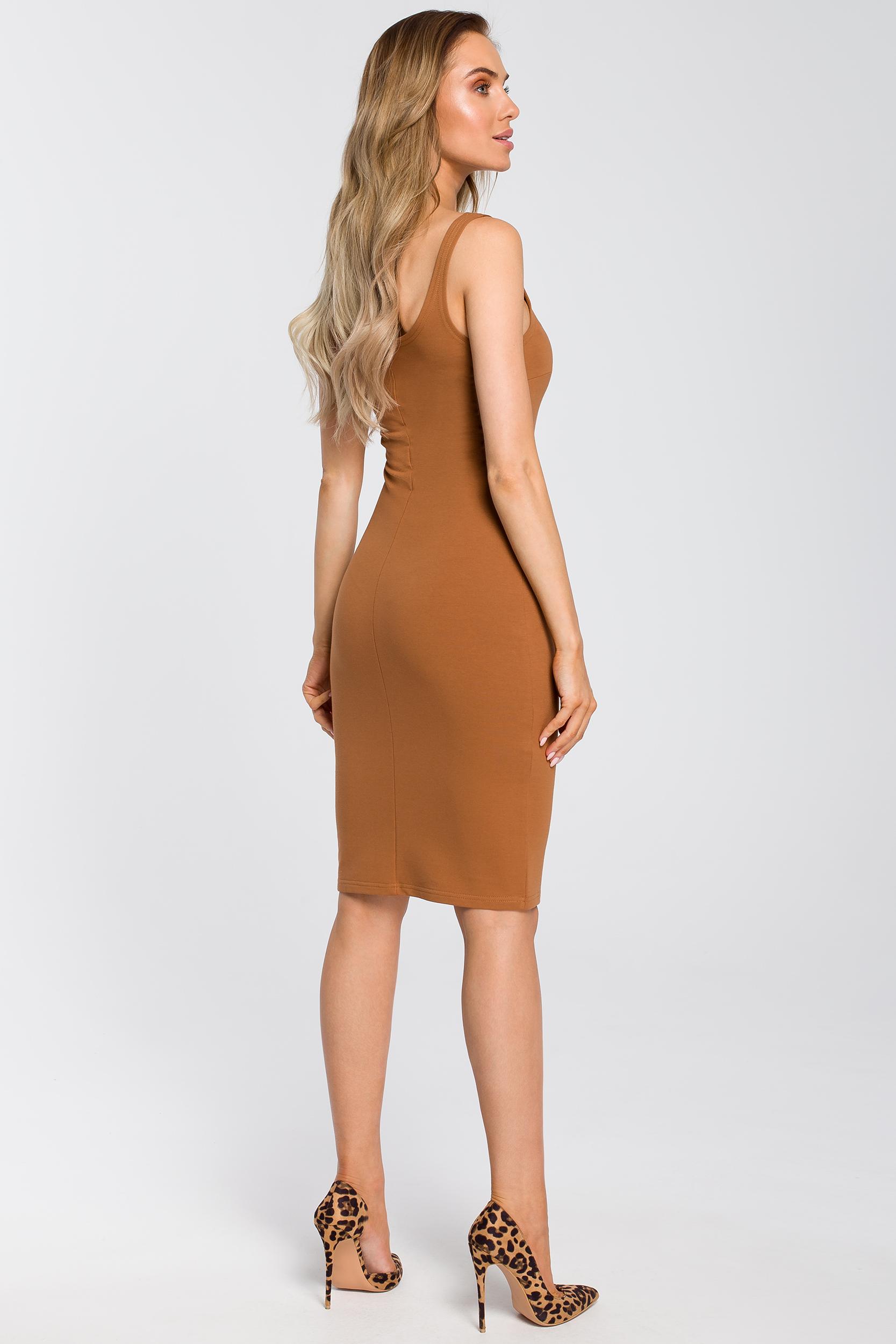 CM4095 Elastyczna sukienka na ramiączkach - karmelowa